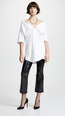 Alexander Wang Off the Shoulder Oxford with Chain Necklace