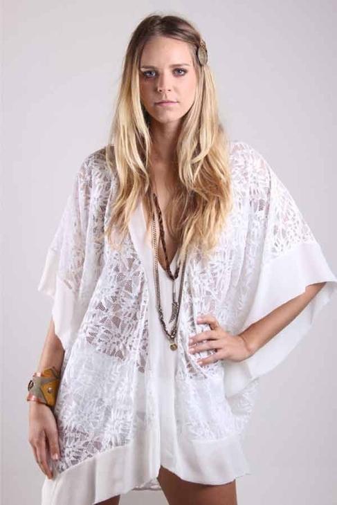 Nightcap Clothing Jungle Lace Kaftan in White
