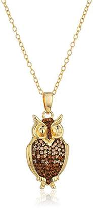 Swarovski Sterling Silver Gold Plated Owl Necklace with Elements Pendant Necklace
