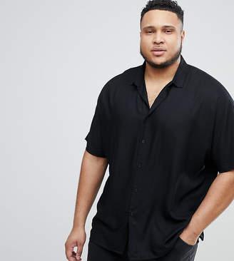 Asos DESIGN Plus oversized viscose batwing sleeve shirt in black