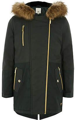 River Island Girls khaki faux fur trim parka jacket
