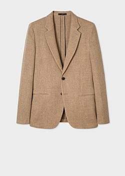 Men's Tailored-Fit Light Brown Wool-Blend Unlined Blazer