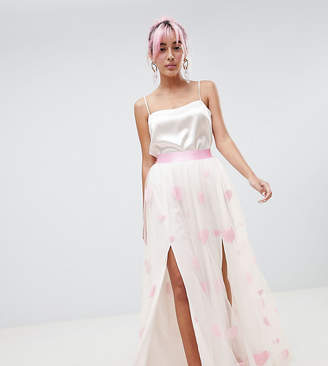 Hello Kitty x ASOS DESIGN heart flocked tulle maxi skirt