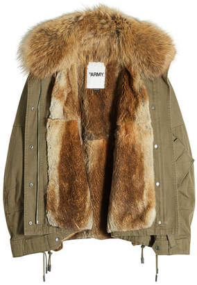 Yves Salomon Army by Cotton Down Parka with Raccoon Fur Lining
