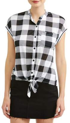 Almost Famous Juniors' Plaid Dolman Sleeve Tie Front Blouse
