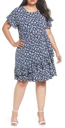 MICHAEL Michael Kors Cherry Blossom Ruffle Faux Wrap Dress