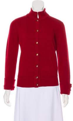 Chanel Knit Button-Up Cardigan Red Knit Button-Up Cardigan
