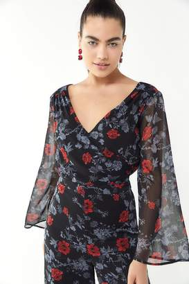 Ali & Jay Only Wish Floral Surplice Jumpsuit