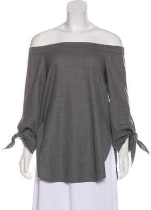 Tibi Virgin Wool Off-The-Shoulder Top