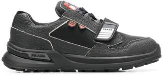 Prada pebbled touch strap sneakers