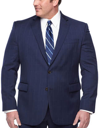 STAFFORD EXECUTIVE Stafford Executive Super100 Navy Windowpane Classic Fit Suit Jacket - Big & Tall