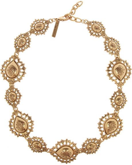 Oscar de la Renta Gold-plated floral necklace