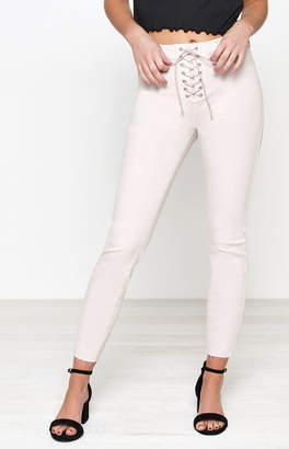 PacSun Mod Pink Lace-Up High Rise Jeggings