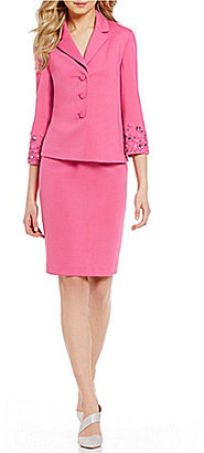 Albert Nipon Beaded-Cuff Ponte Skirt Suit $385 thestylecure.com