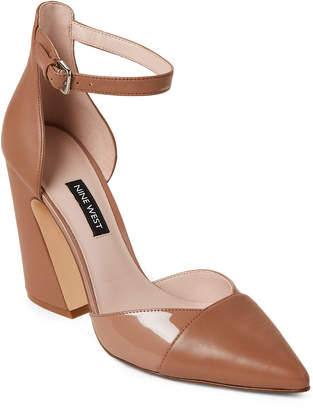Nine West Wheat Hartley Ankle Strap Leather Pumps