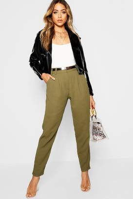 boohoo Utility Buckle Belted Tapered Trouser
