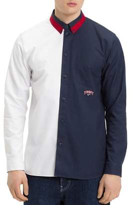Tommy Jeans Color-Block Regular Fit Button-Down Shirt