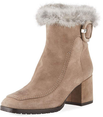Aquatalia Charlize Suede Booties with Fur Trim