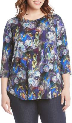 Karen Kane Brushstroke Floral Print Top