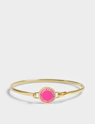 Marc Jacobs Logo Disc Hinge Bracelet in Neon Pink Brass