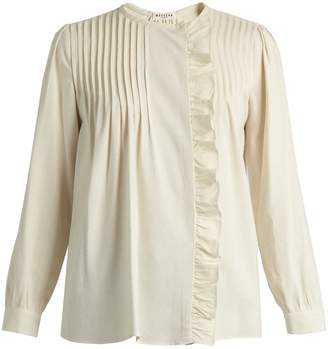 Masscob Benat ruffled pintucked-pleated silk top