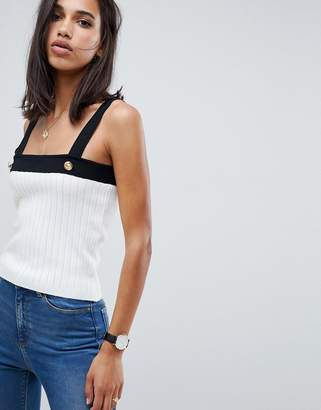 Asos Design DESIGN ribbed tank with gold button detail