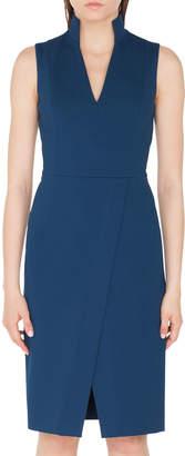 Akris Punto Stand-Collar V-Neck Jersey Sheath Dress