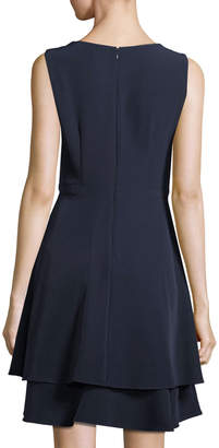 Taylor Embellished-Neck Fit-and-Flare Dress