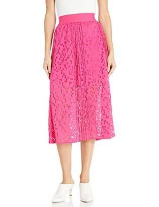 Armani Exchange A|X Women's Geometric Lace Overlay Long A-Line Skirt
