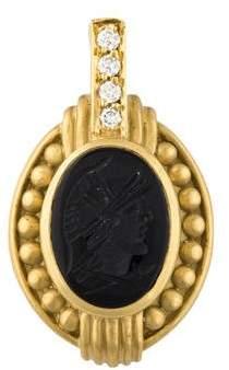 Judith Ripka Onyx & Diamond Intaglio Enhancer Pendant