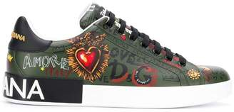 Dolce & Gabbana leather lace-up trainers