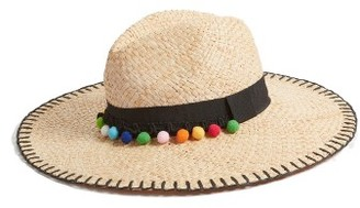 Women's Phase 3 Whipstitch Pom Panama Hat - Brown $35 thestylecure.com