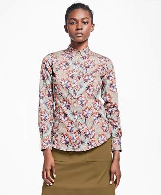 Brooks Brothers Petite Tailored-Fit Floral Cotton Sateen Blouse