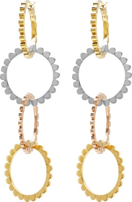 NANCY NEWBERG Four Linked Tri Gold Hoop Earrings