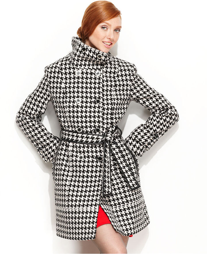 Calvin Klein Coat, Houndstooth-Check Belted Double-Breasted