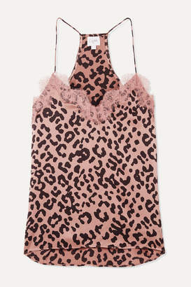 CAMI NYC The Racer Lace-trimmed Leopard-print Silk-charmeuse Camisole - Blush