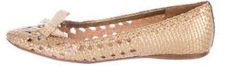 Miu Miu Metallic Woven Flats