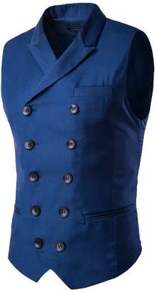 Bmeigo Men Casual Slim Double Breasted Suit Vest Sleeveless Jacket Top