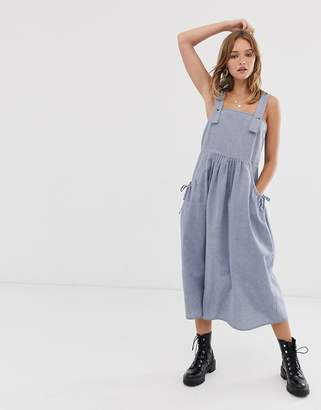 Asos Design DESIGN dungaree midi sundress with pocket detail in chambray