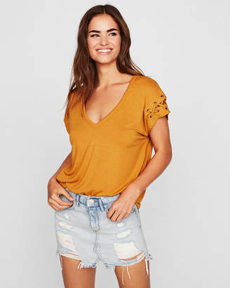 Express One Eleven Lace-Up Sleeve Tee