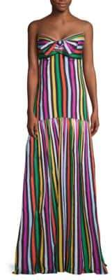 Caroline Constas Striped Strapless Fit-&-Flare Maxi Dress