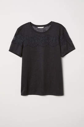 H&M T-shirt with Lace - Black