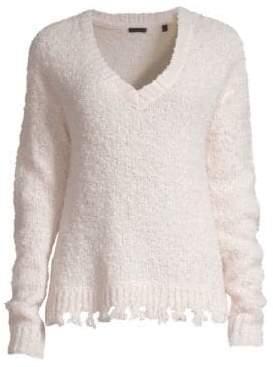 ATM Anthony Thomas Melillo Destroyed Wool-Blend V-Neck Sweater