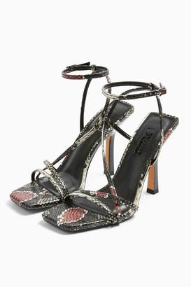 Topshop WIDE FIT RITZ Snake Strap High Heels
