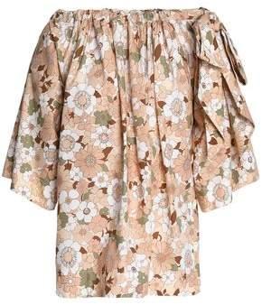 Chloé Bow-detailed Floral-print Cotton Blouse