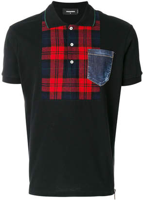 DSQUARED2 tartan panel polo shirt