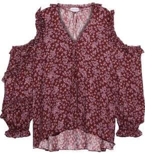 Magda Butrym Rijeka Cold-shoulder Floral-print Silk Crepe De Chine Top