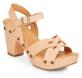 Deborah Leather Studded Sandals $155 thestylecure.com