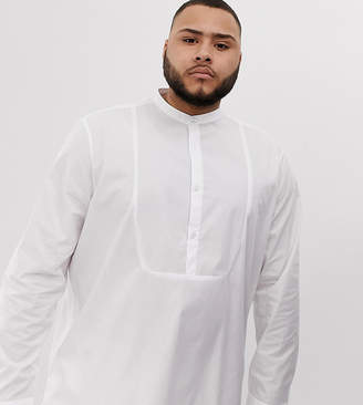 Asos Design DESIGN Plus regular fit overhead longline shirt with bib detail in white