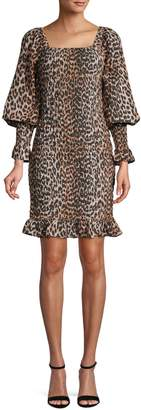 Ganni Leopard-Print Cotton Silk Blend Dress
